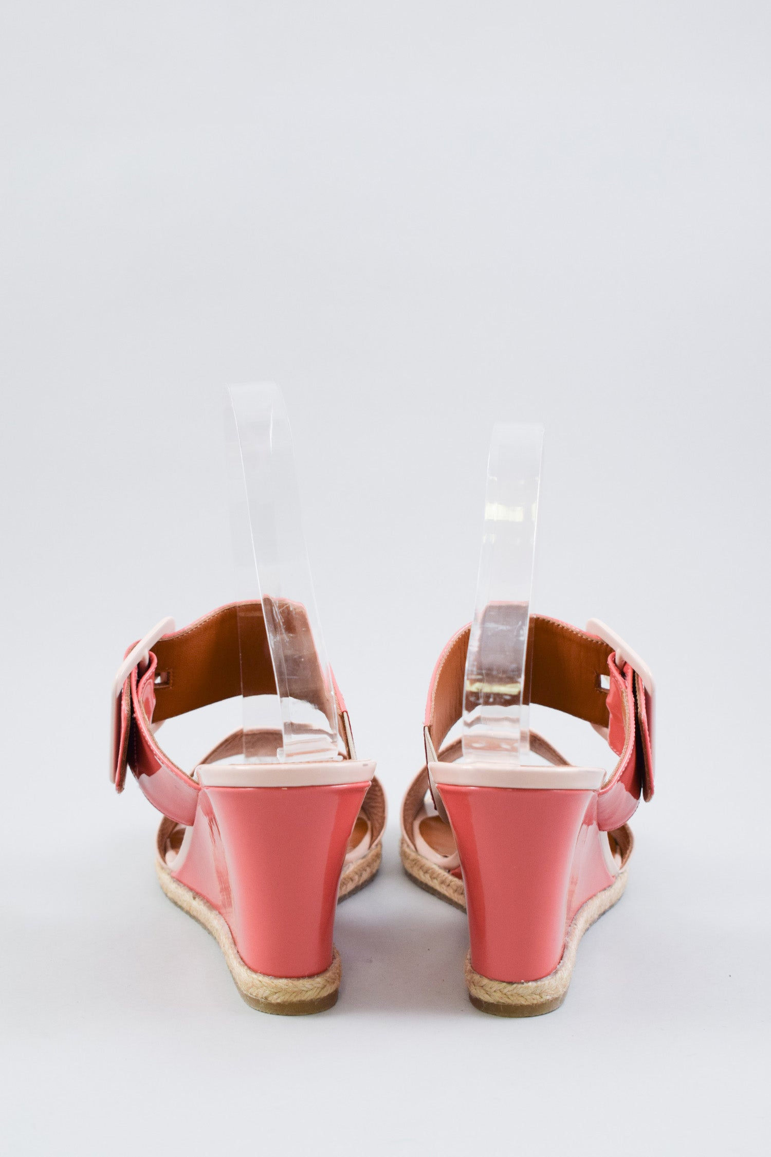 Fendi Pink Contrast Patent Wedges Size 38