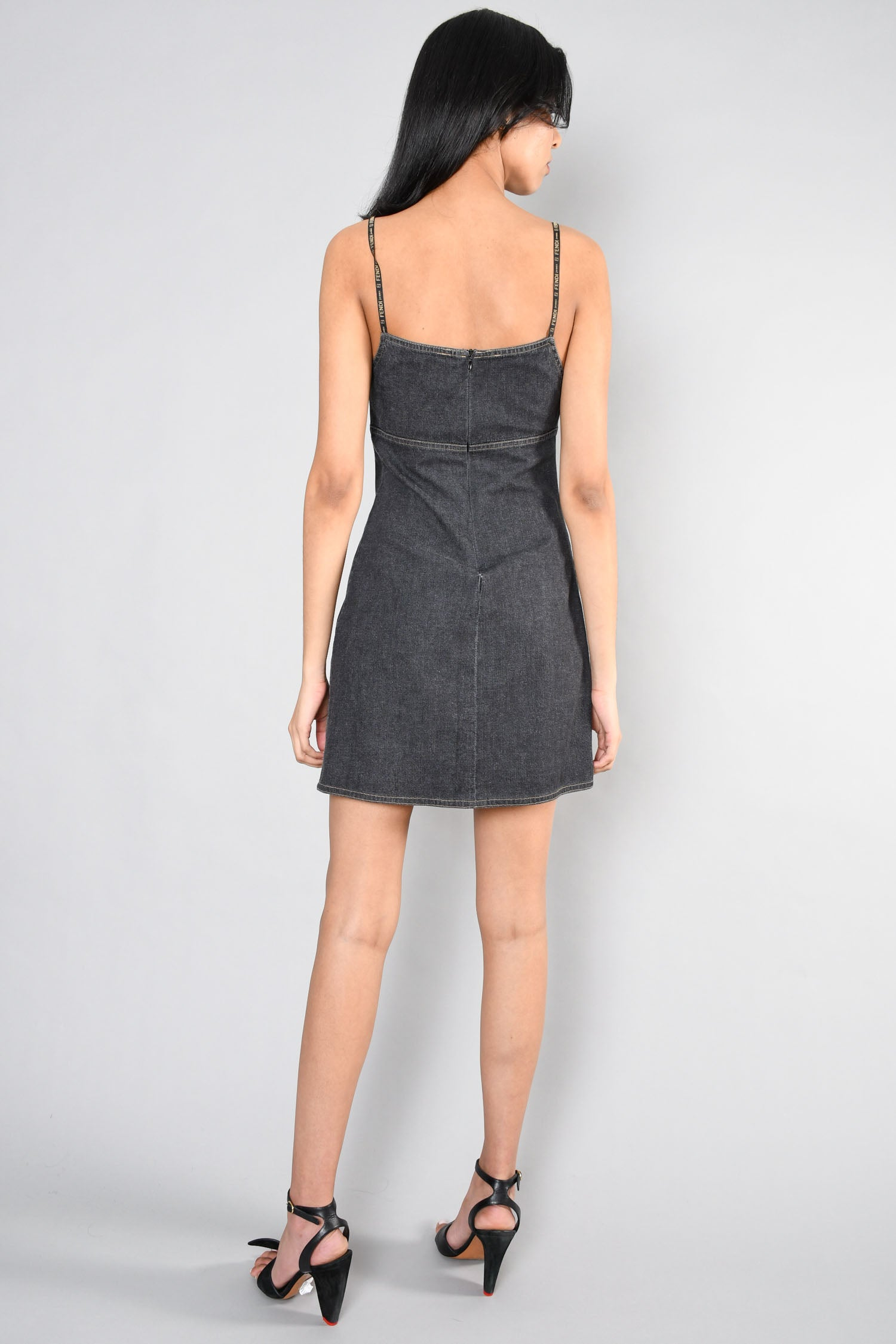 Fendi Jeans Vintage Dark Grey Denim Logo Strap Mini Dress