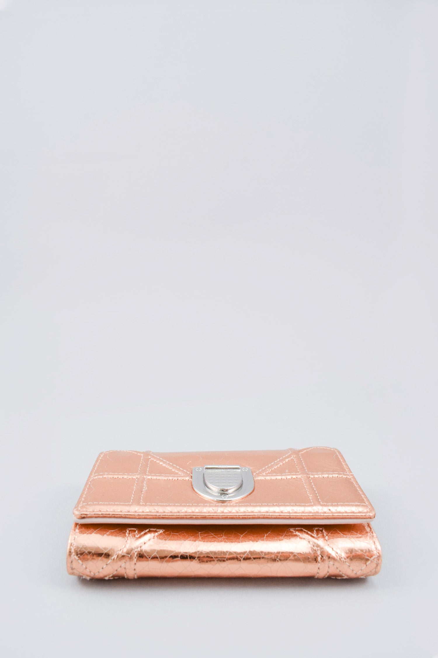 Christian Dior Rose Gold Metallic Diorama Elancee Wallet