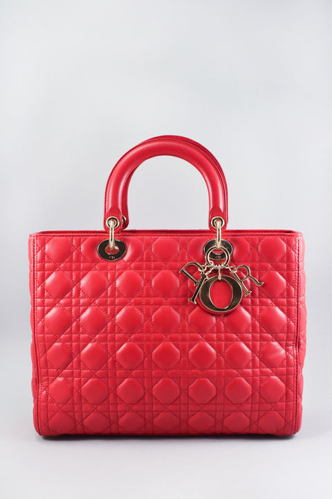 "Dior Red ""Lady Dior"" Large Bag"