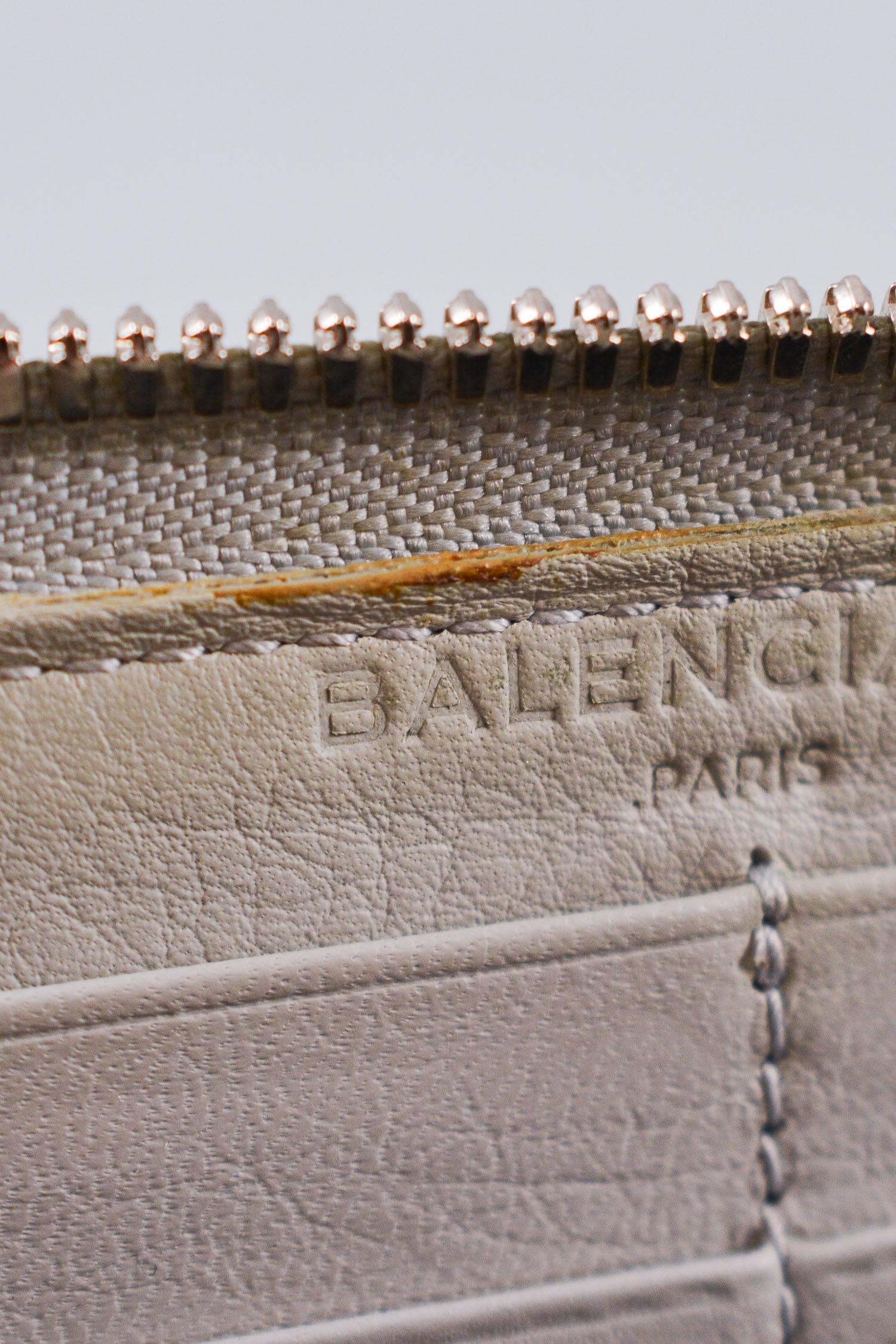 Balenciaga Grey Smooth Leather Motocross Zip Wallet