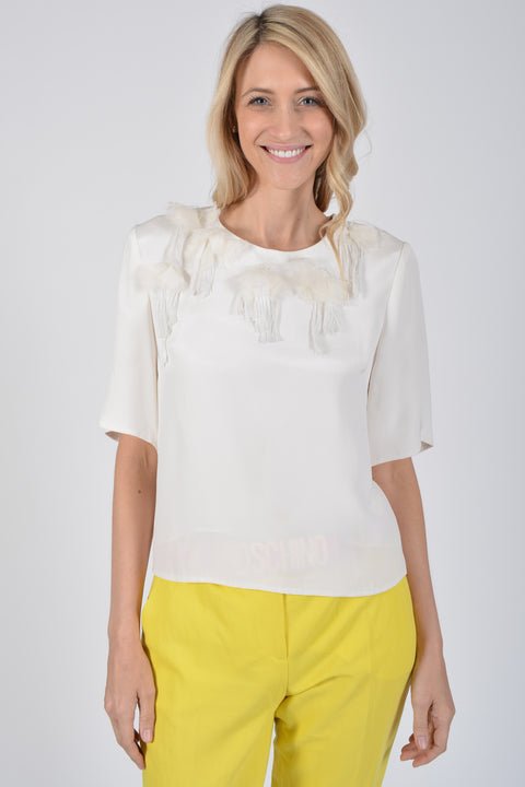 3.1 Phillip Lim White Silk Top with Detailing Size 6
