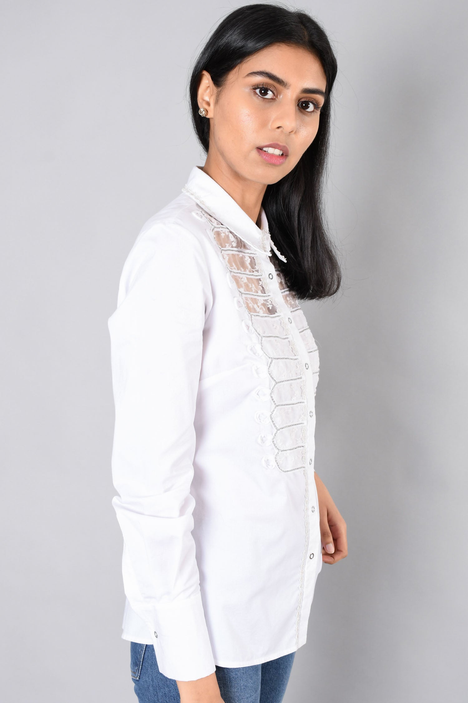 Elie Tahari White Chain Embroidered Button-Up (No Size Tag)