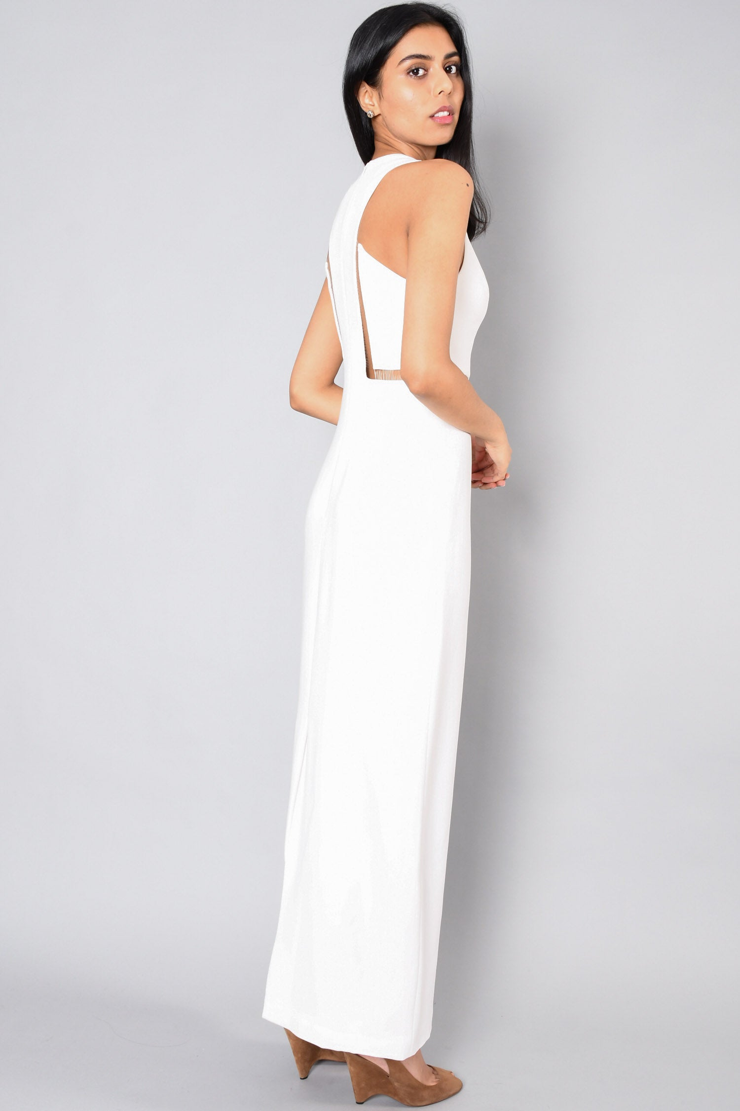 Alexander Wang White Sleeveless Gown Fishing Wire Detail Size 2
