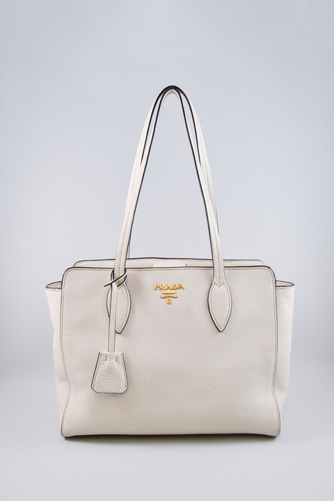 Prada White Saffiano Leather Soft Tote