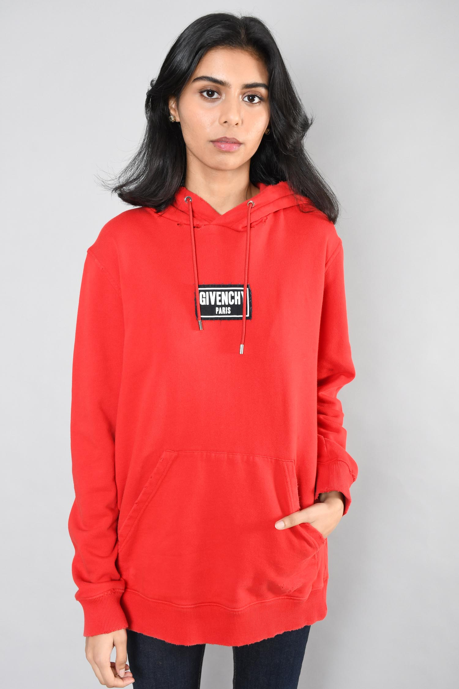 Givenchy Red Box Logo Distressed Hoodie Size S