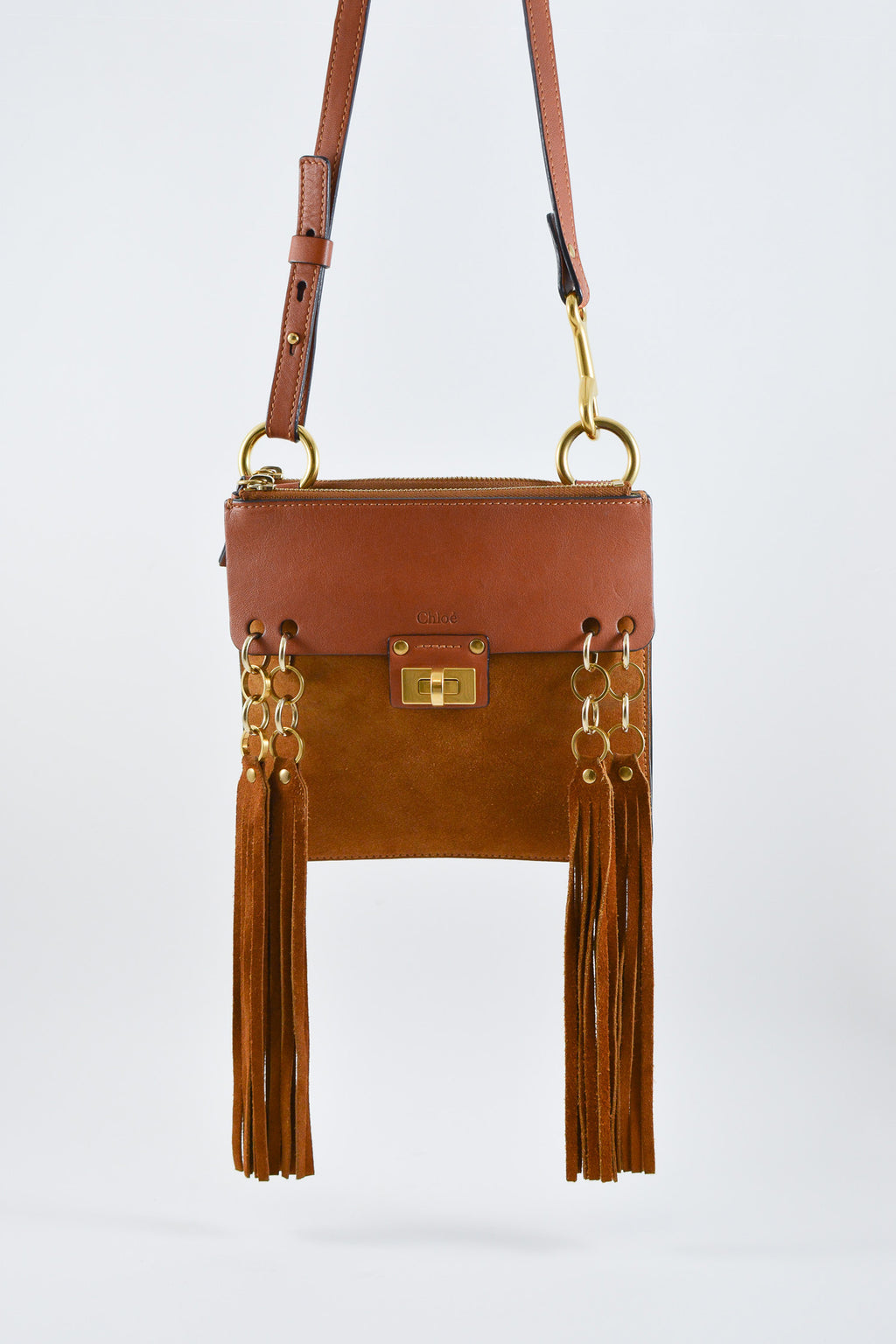 ChloéBrown Jane Leather and Suede Tassel Crossbody