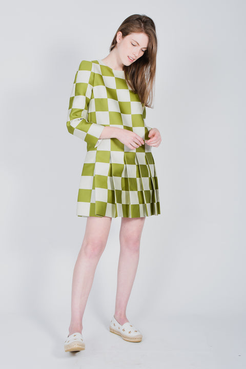 Louis Vuitton Green and White Dress Large Check with Pleated Skirt Size 36