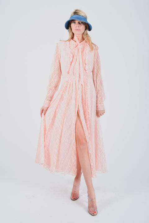 New Mikael Aghal Pink LS Lace Dress Size 8 (Retail $1200)