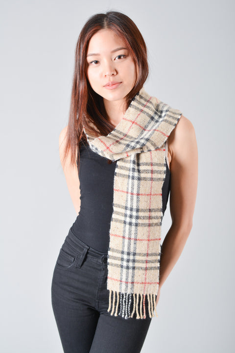 Burberry London Wool/Cashmere Check Scarf