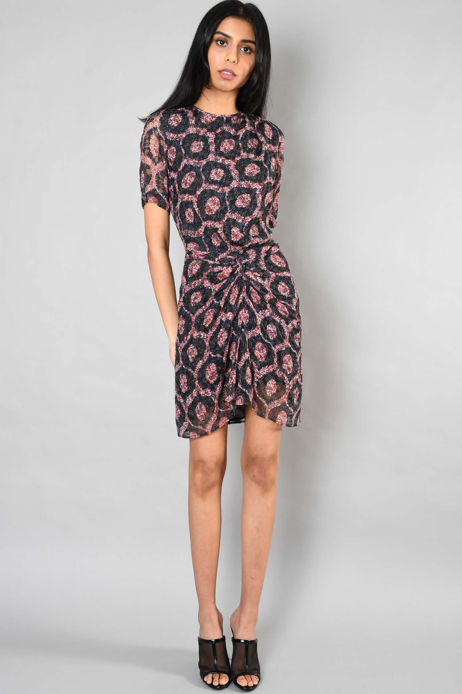 Isabel Marant Red/Black Printed S/S Cinched Waist Silk Dress Size 34