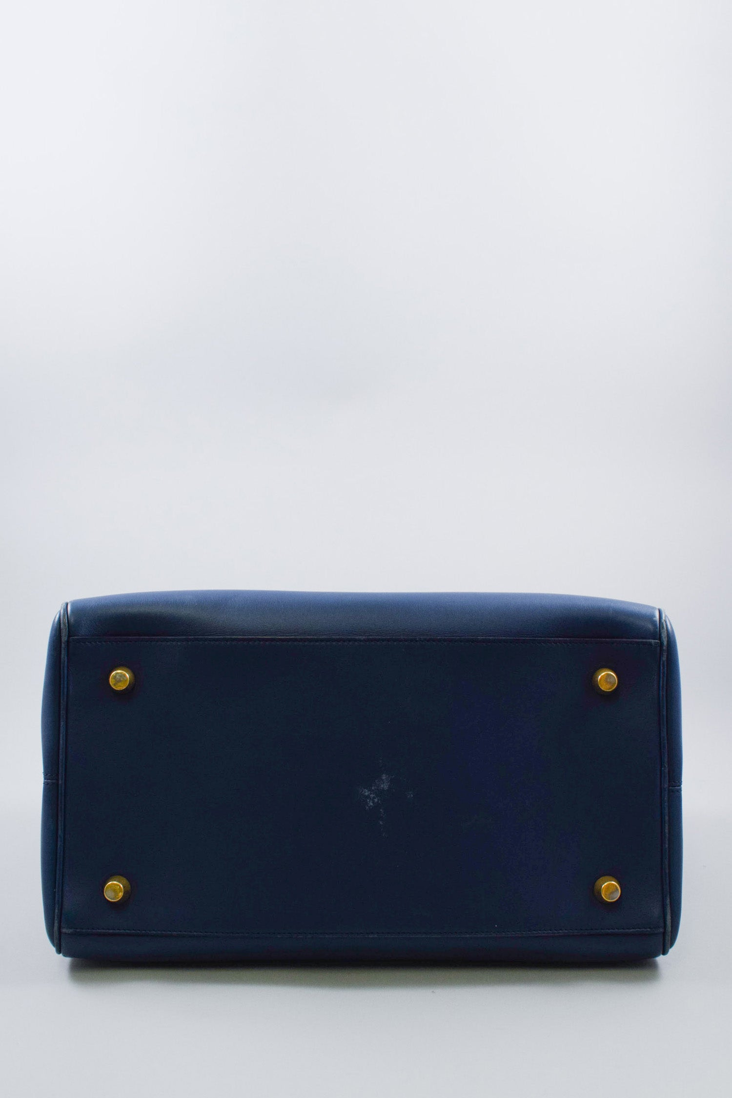 Celine Navy Blue Leather Top Handle Bag