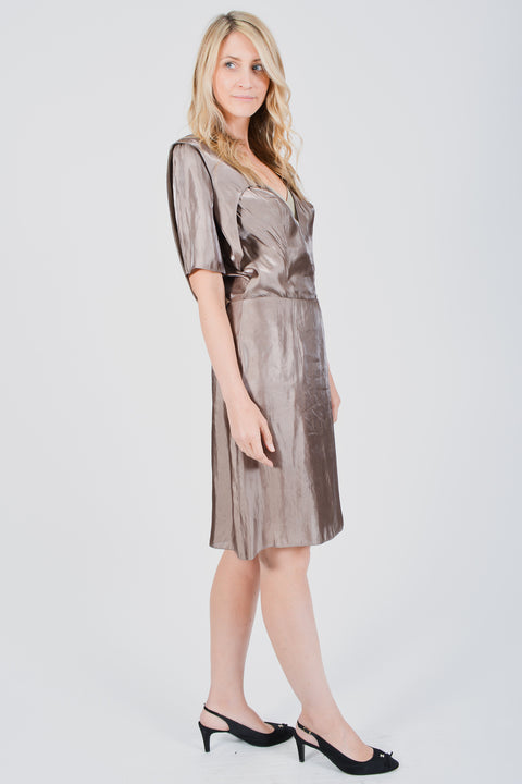 Balenciaga Grey Silk Short Sleeve Dress Size 38