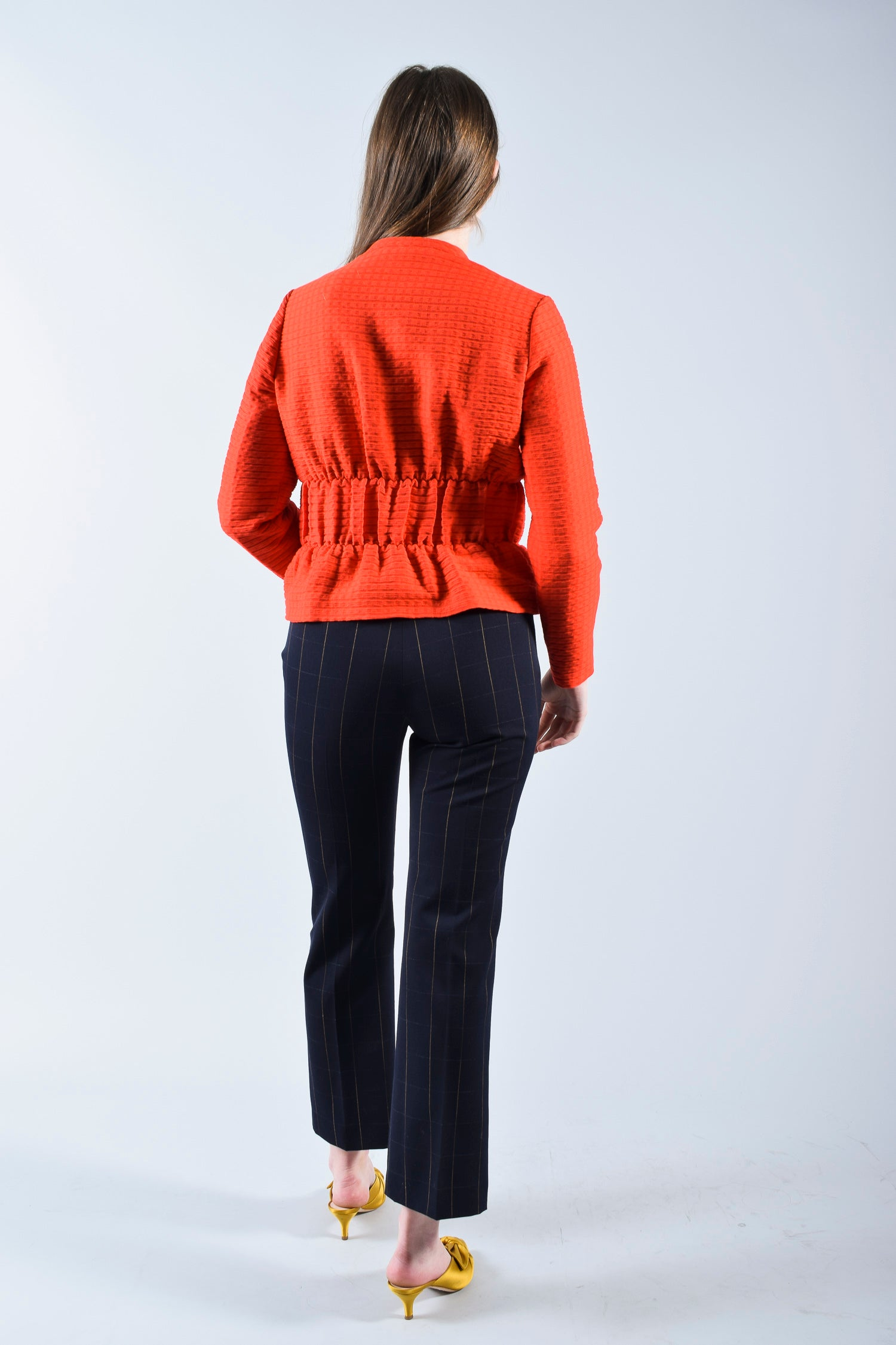 Maje Orange Jacket w/ Gather Details Size 36