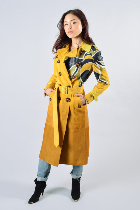Burberry Yellow Suede Dégradé Trench Coat Size 38