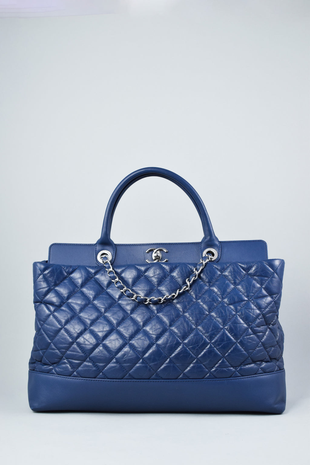 Chanel Navy Quilted Tote Bag