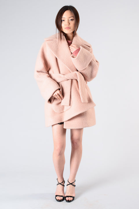 Carven Pink Wool Jacket w/ Belt Size 34