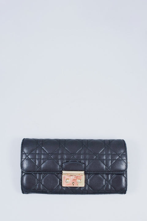 Christian Dior Black Lambskin Cannage Miss Dior Wallet