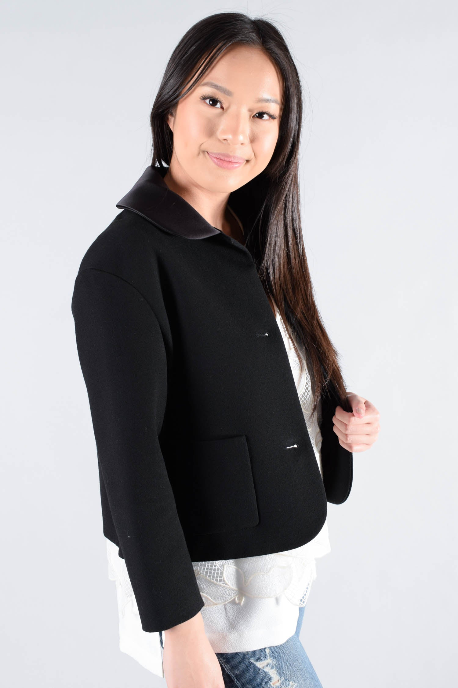 Maje Black Crop Jacket Size 36