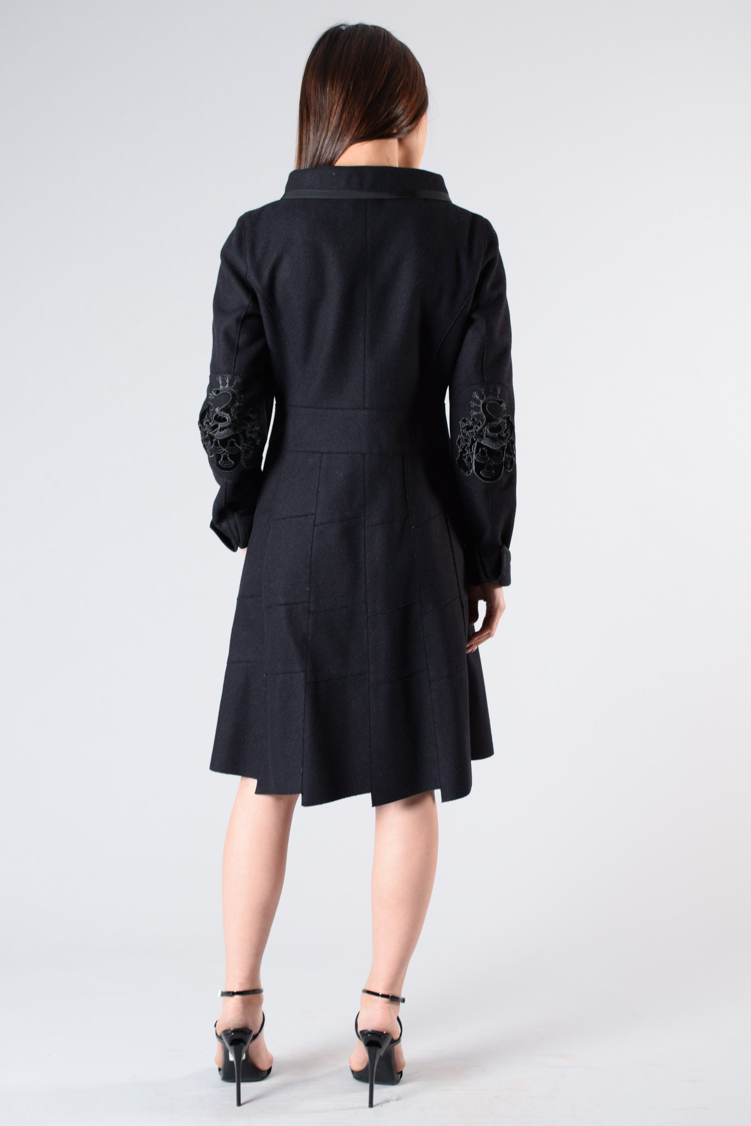 Miu Miu Wool Coat w/ Embellished Buttons & Velvet Detail on Elbows Size 40