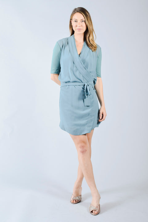Burberry Brit Blue Silk Wrap Dress