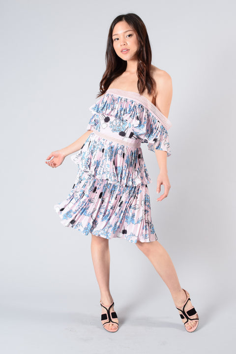 Self-Portrait Pink/Blue Printed Pleated Dress Size 6