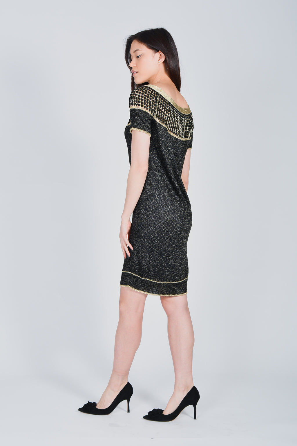 09ccb0aa2 Gucci Black/Gold Knitted Short Sleeve Dress – Mine & Yours ...