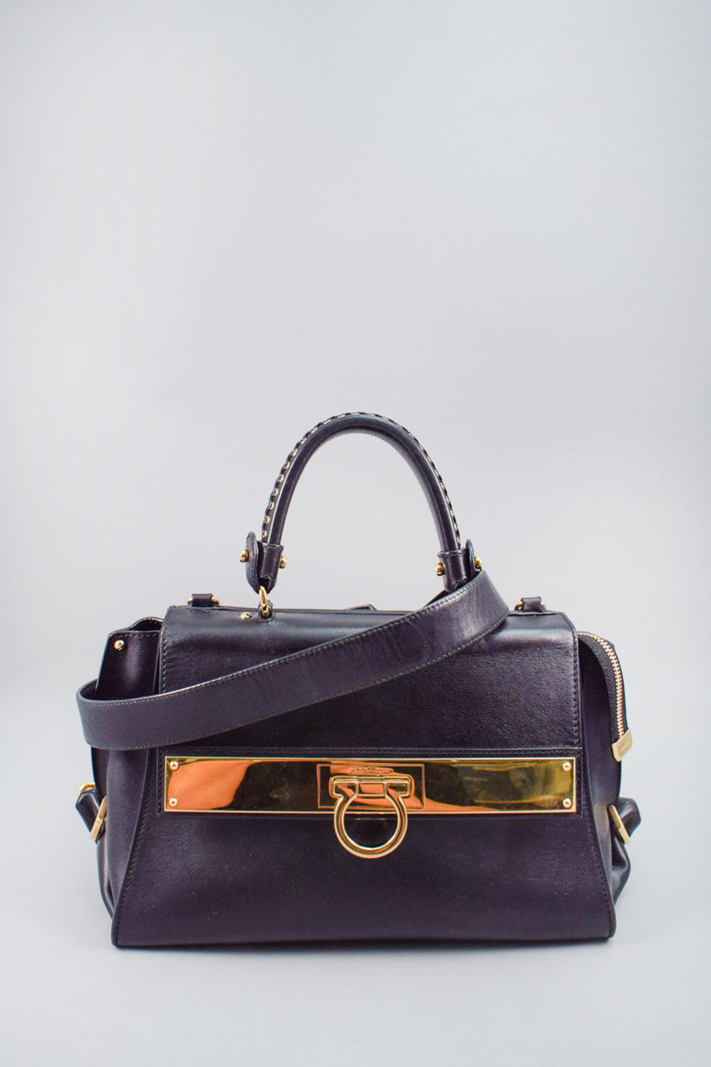 Salvatore Ferragamo Black Leather Top Handle Bag w/ Strap