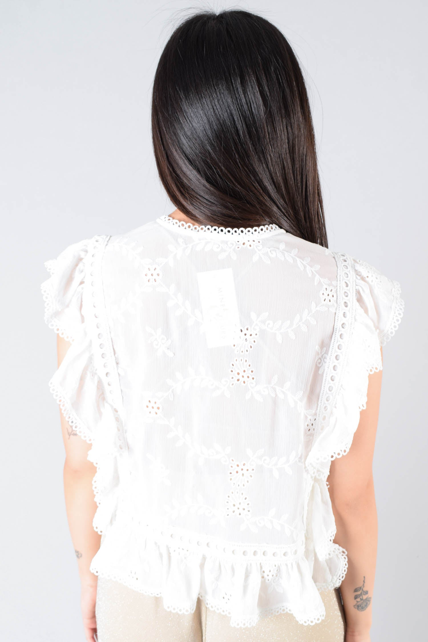 Tularosa White Eyelet Sleeveless Top Size S