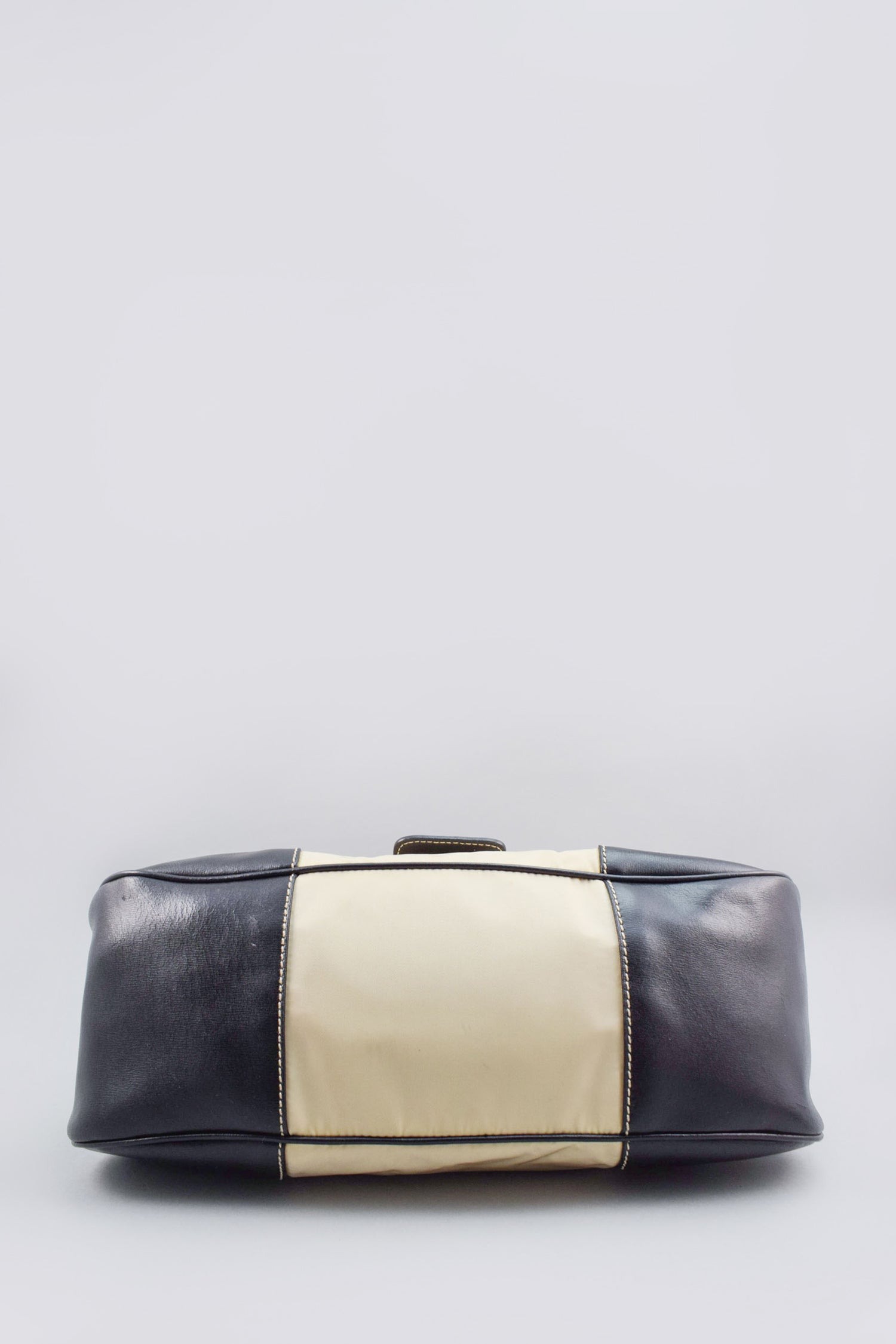 Prada Cream Leather-Trimmed Nylon Top Handle Bag