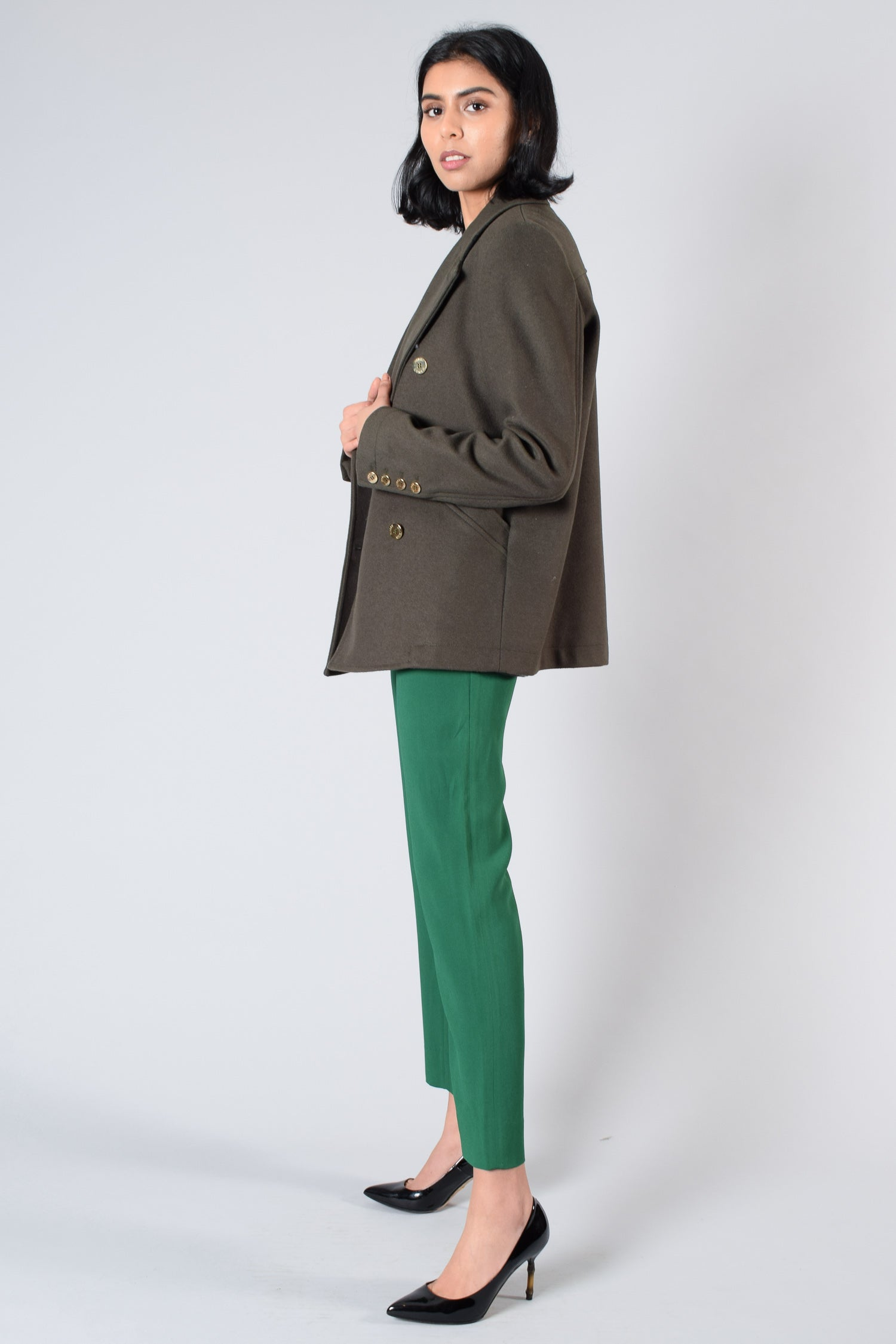 Pierre Balmain Green Wool Blazer with Gold Buttons Size 28
