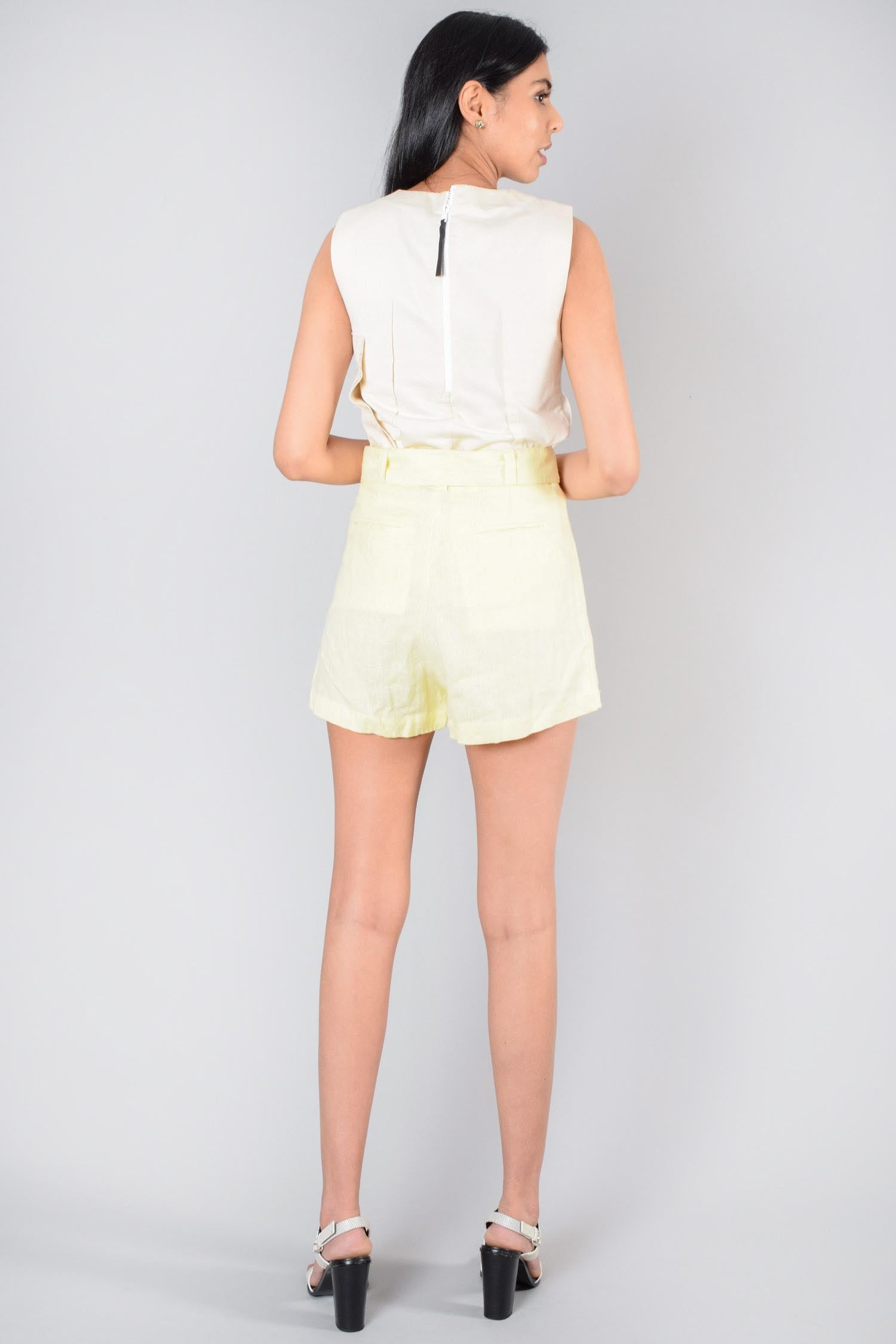 Faithfull the Brand Yellow Linen Celia Belted Shorts Size 2 US