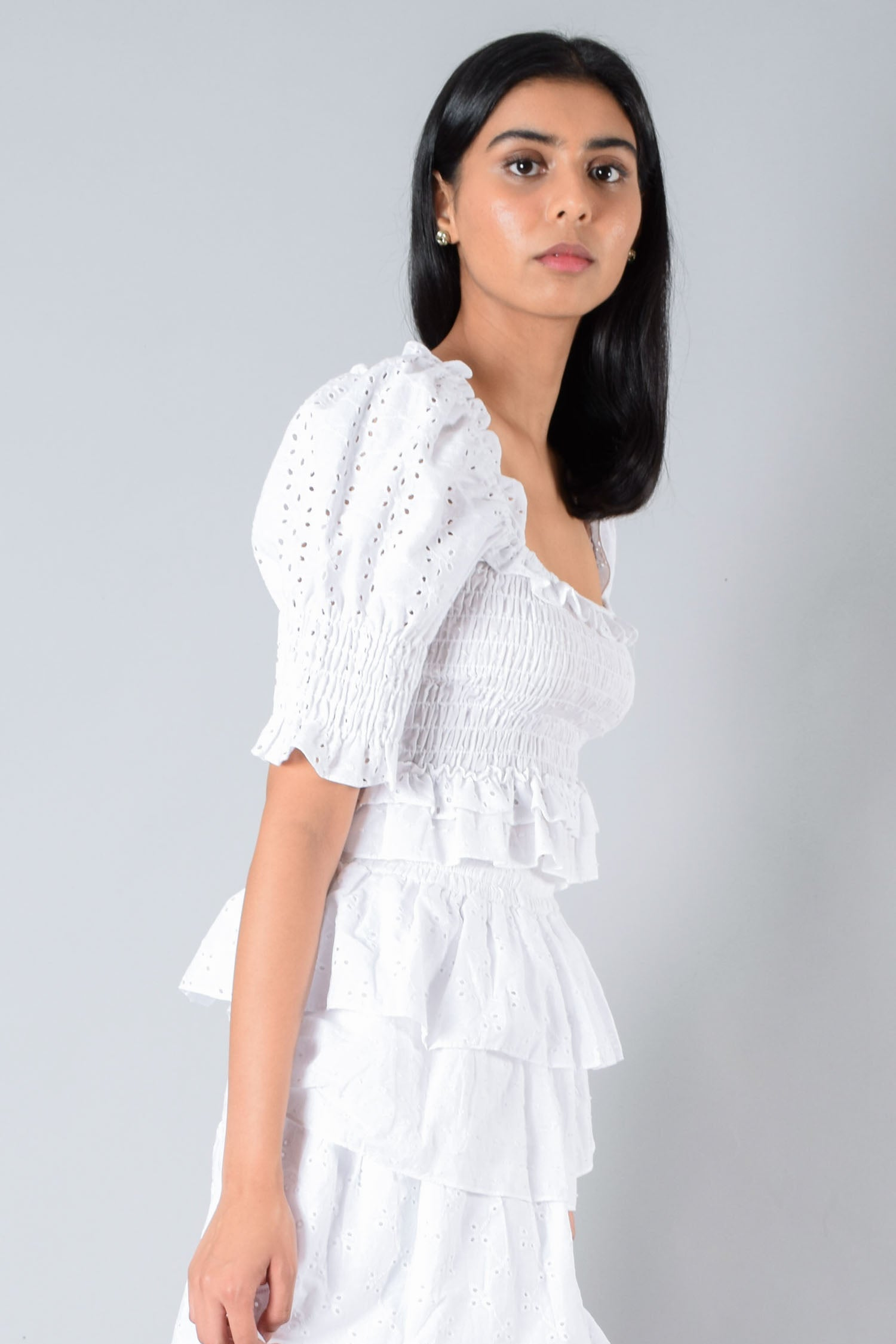 MISA White Eyelet Abbey Crop Top Size XS