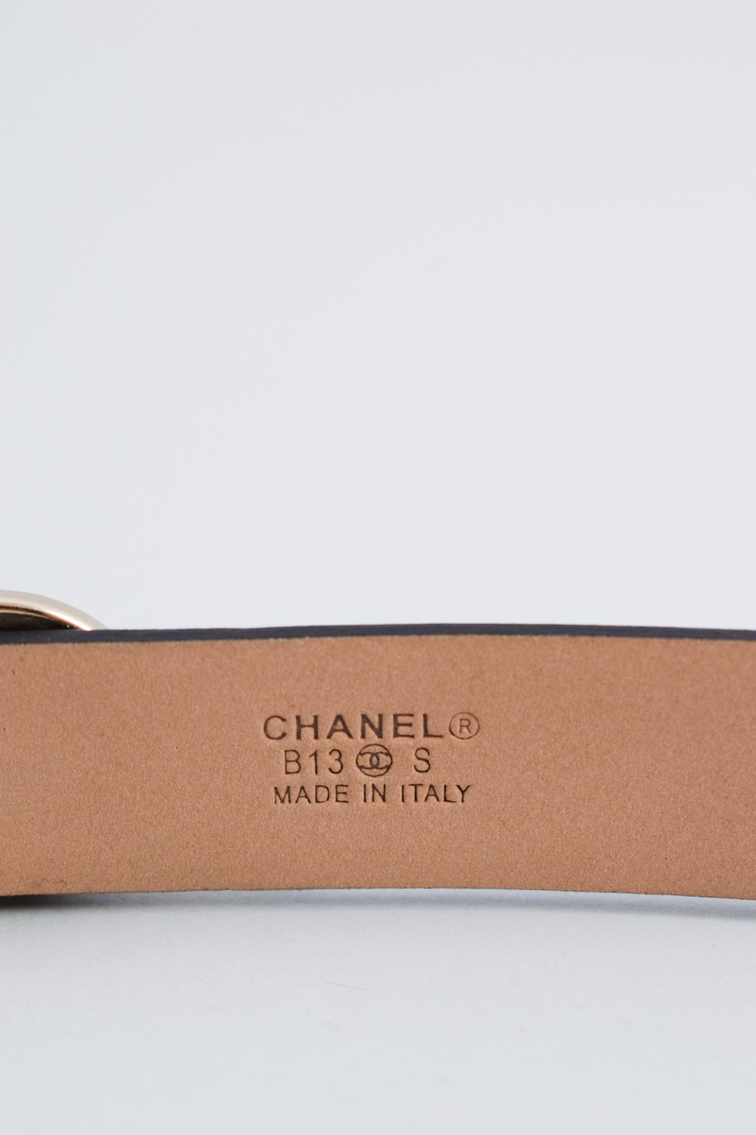 Chanel Black Leather Pearl Belt Size 80