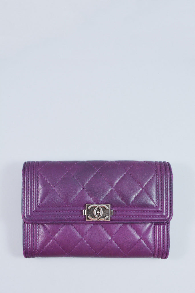 Chanel Purple Quilted Small Boy Wallet