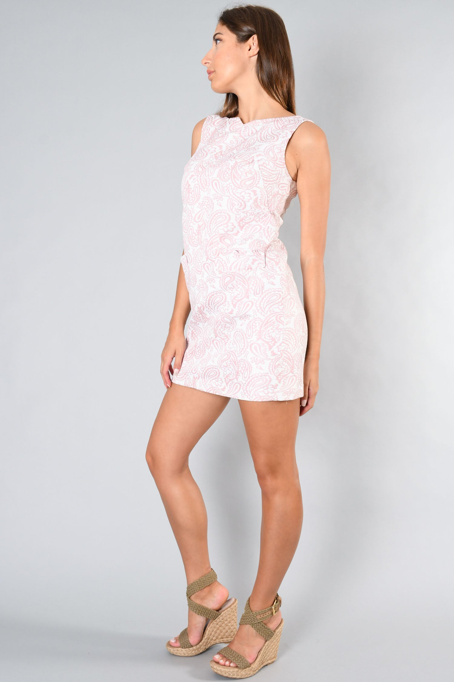 Victoria Beckham White/Pink Textured Paisley Sleeveless Dress Size S