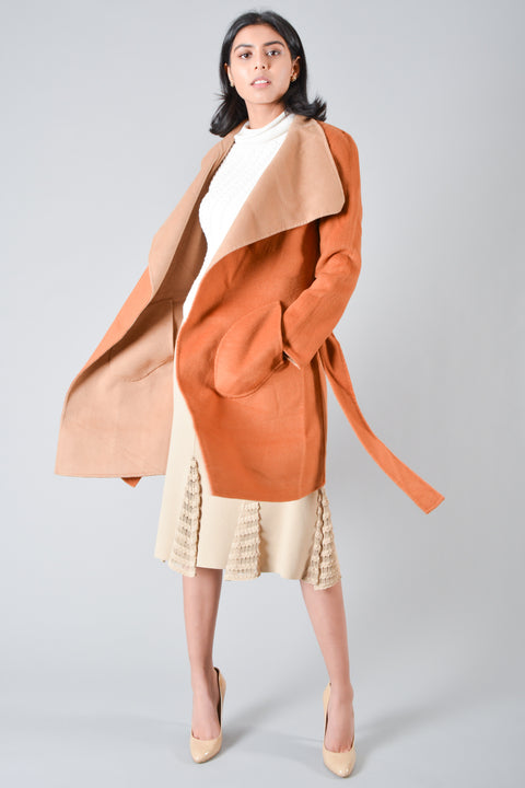 Celine Burnt Orange Wool/Cashmere Coat Size 36