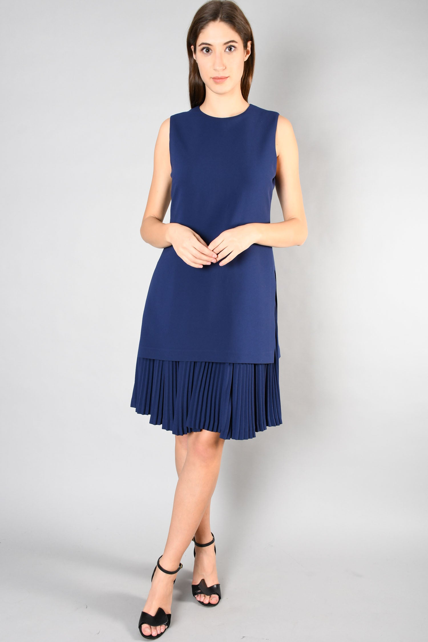 Theory Blue Sleeveless Dress w/ Pleated Hem Size 8