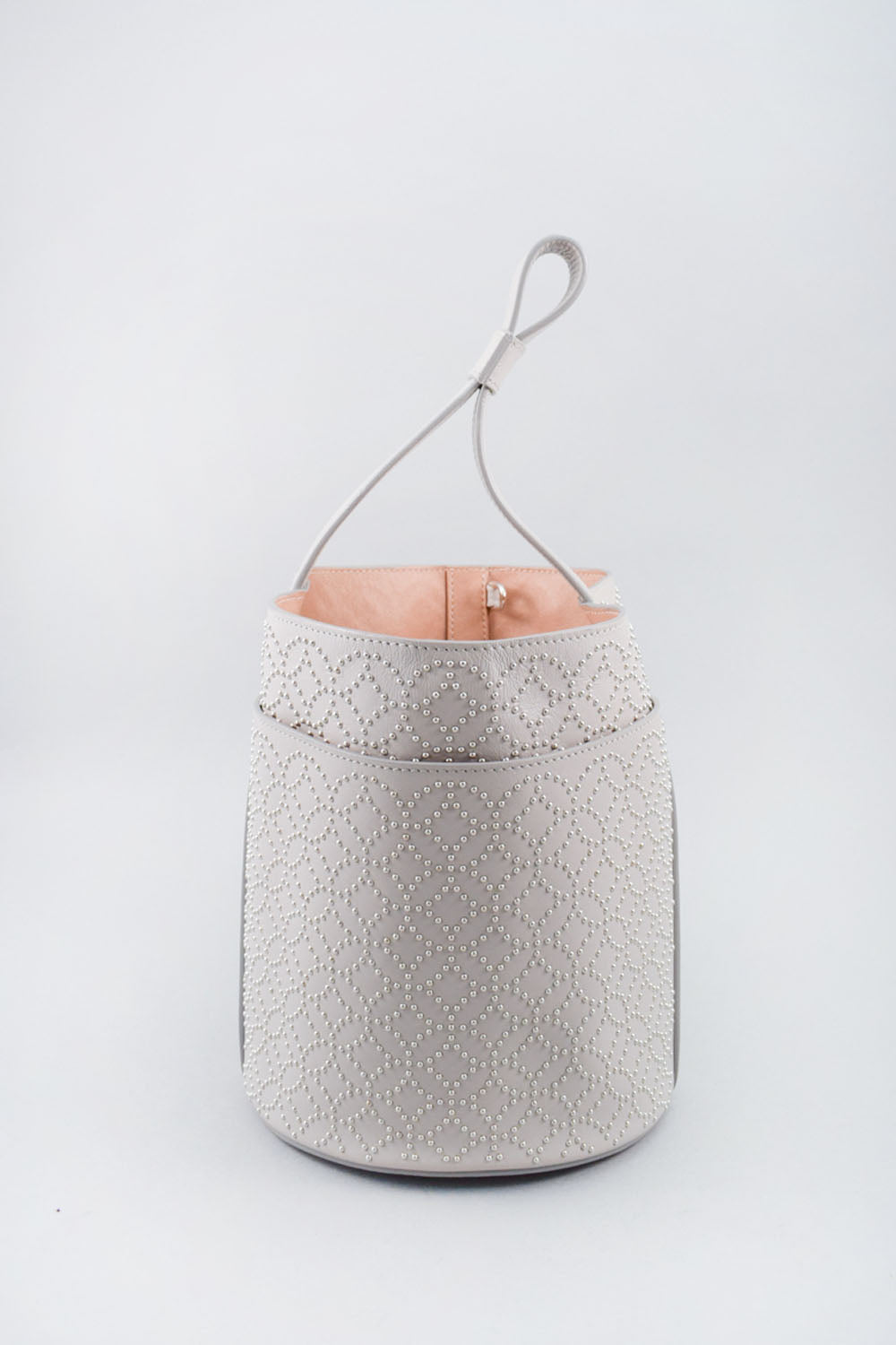 Alaia Grey Leather Studded Bucket Bag