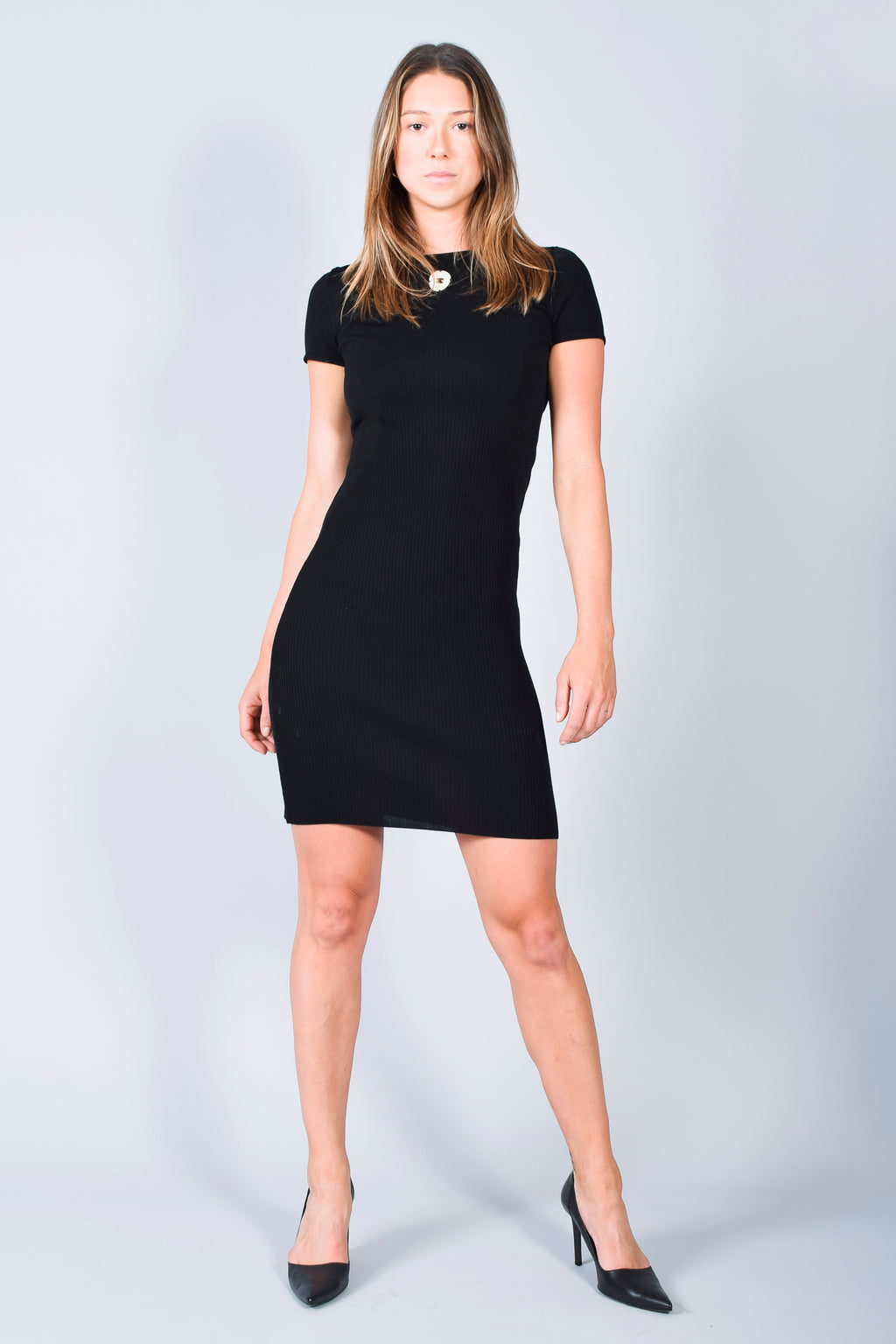 Chanel Black Logo Knit Dress with Camelia Size 36