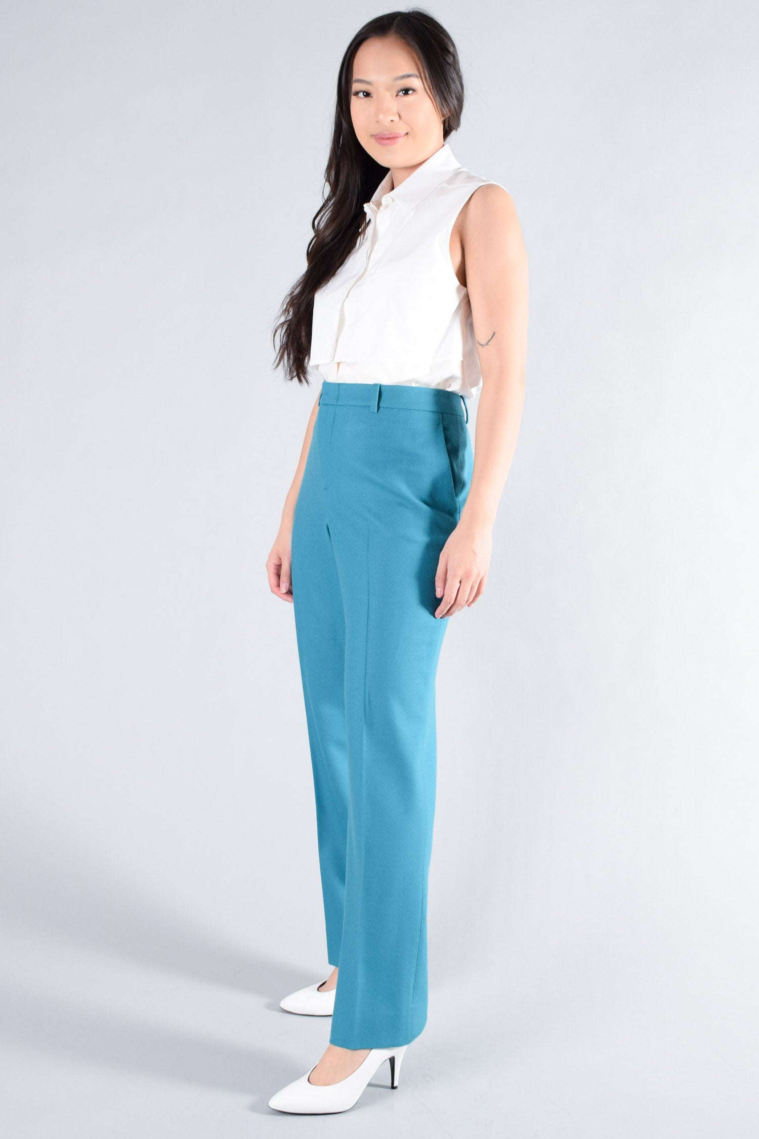 Gucci Teal Pants With Front Pleat Size 46