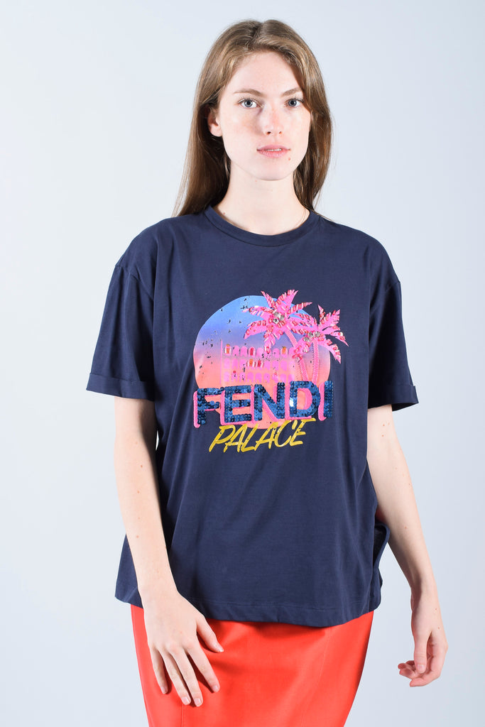 Fendi Navy Cotton Sequin Palace T-Shirt Size XS