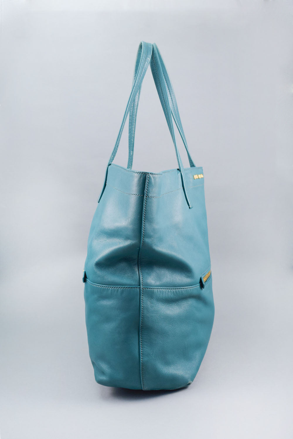 Miu Miu Dark Turquoise Leather Shopper Tote