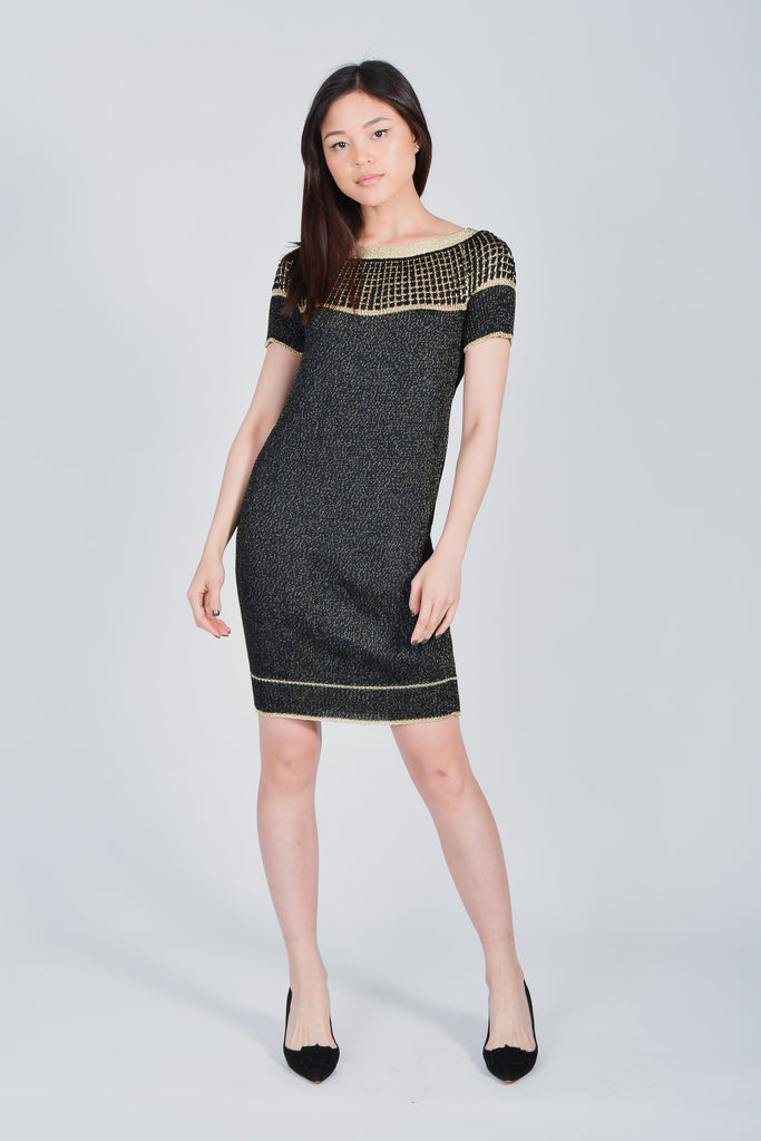 Gucci Black/Gold Knitted Short Sleeve Dress