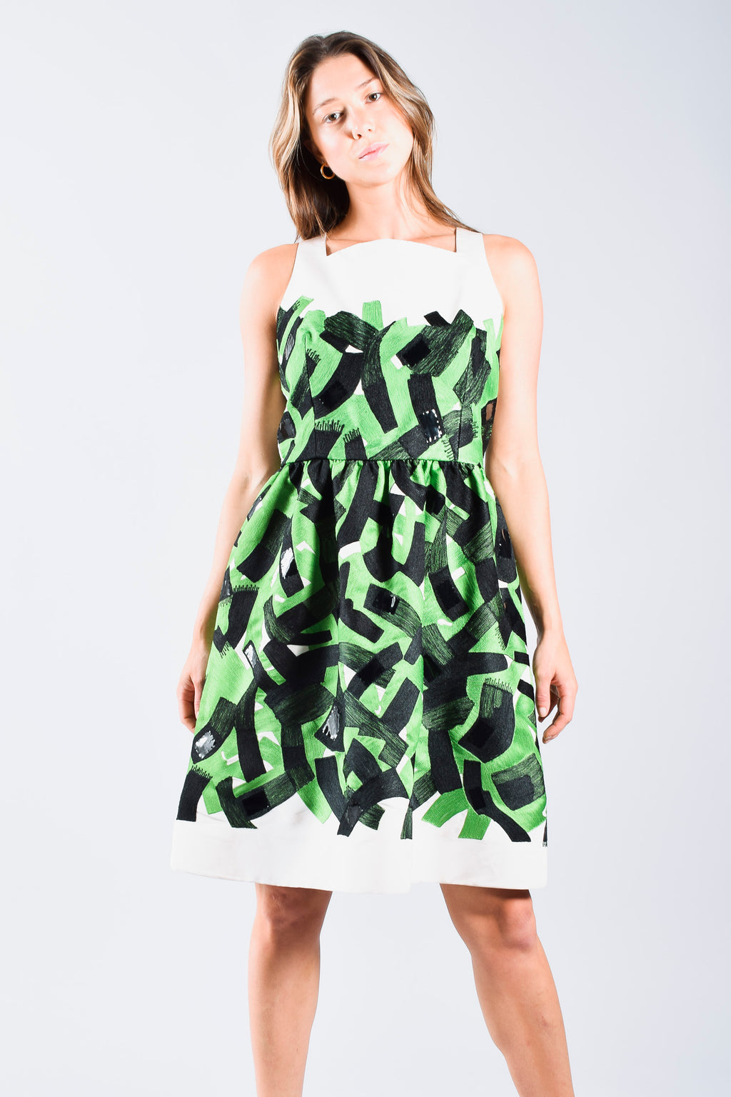 Oscar De La Renta Green & Black Sleeveless Dress Size 10