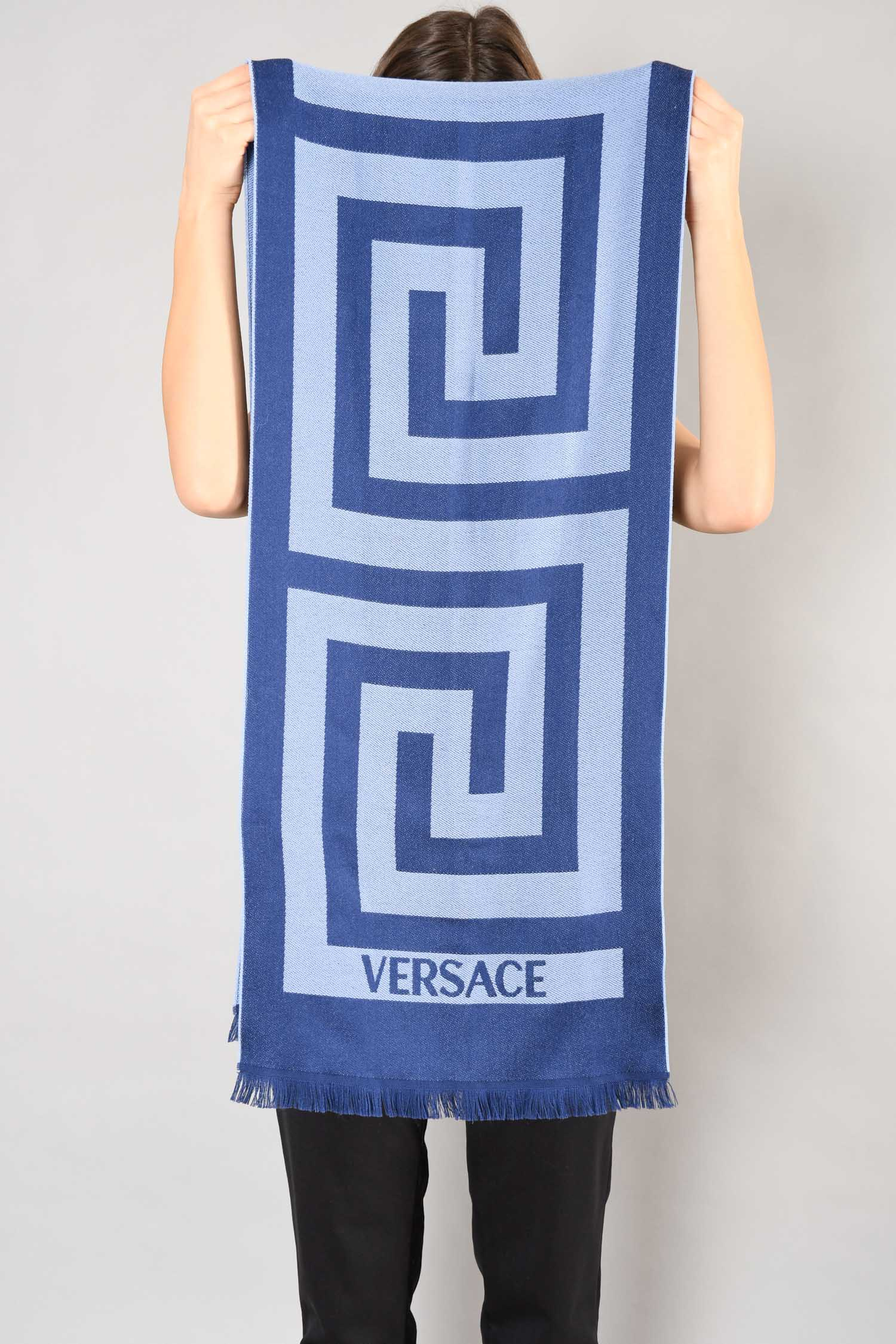 Versace Blue Wool Medusa Head Scarf