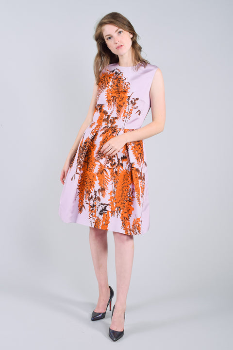 Christian Dior 2014 Purple/Orange Printed Silk Dress Size 4