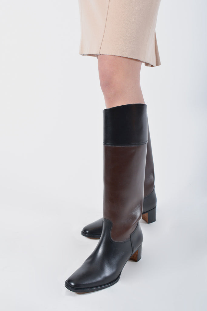 Hermés Black & Brown Leather Boots Size 38