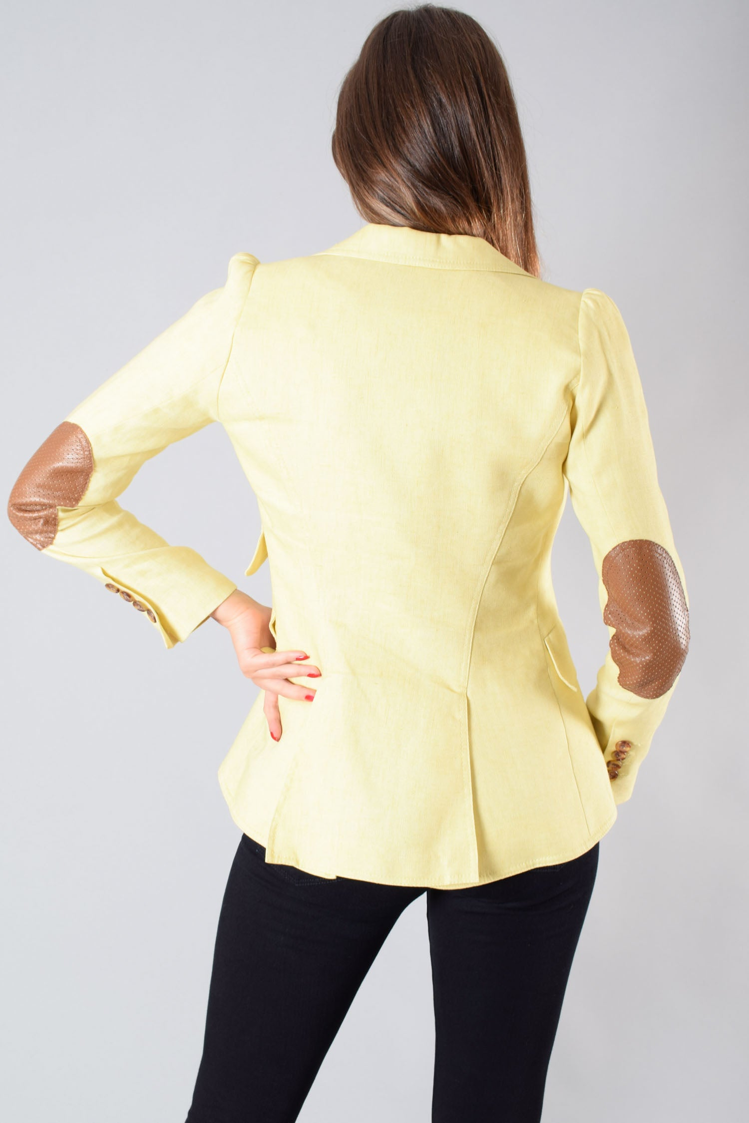 Smythe Yellow Linen Blazer w/ Brown Patches Size 6