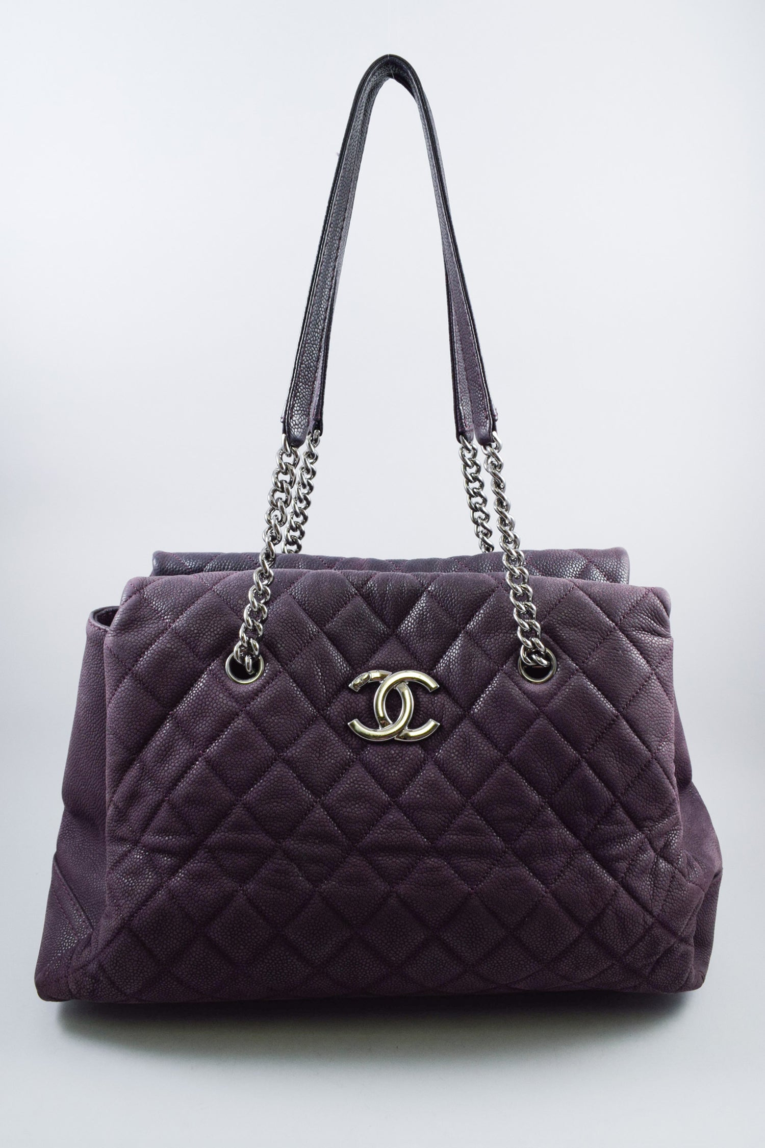 Chanel Purple Quilted Chain Handle Tote